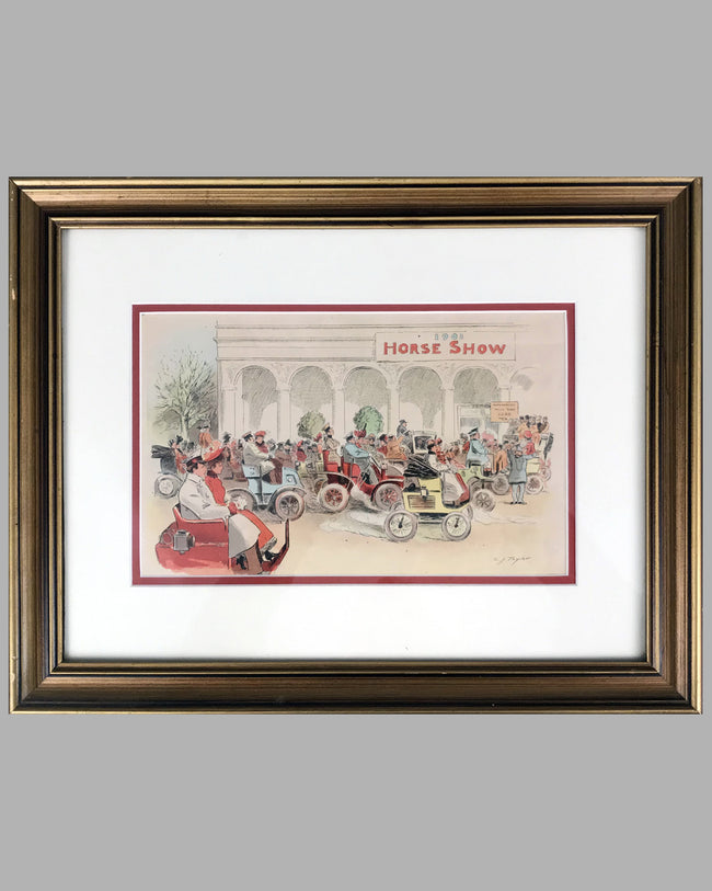 Horseless Carriages Arrive at the Horse Show 1901 period lithograph by C. J. Taylor