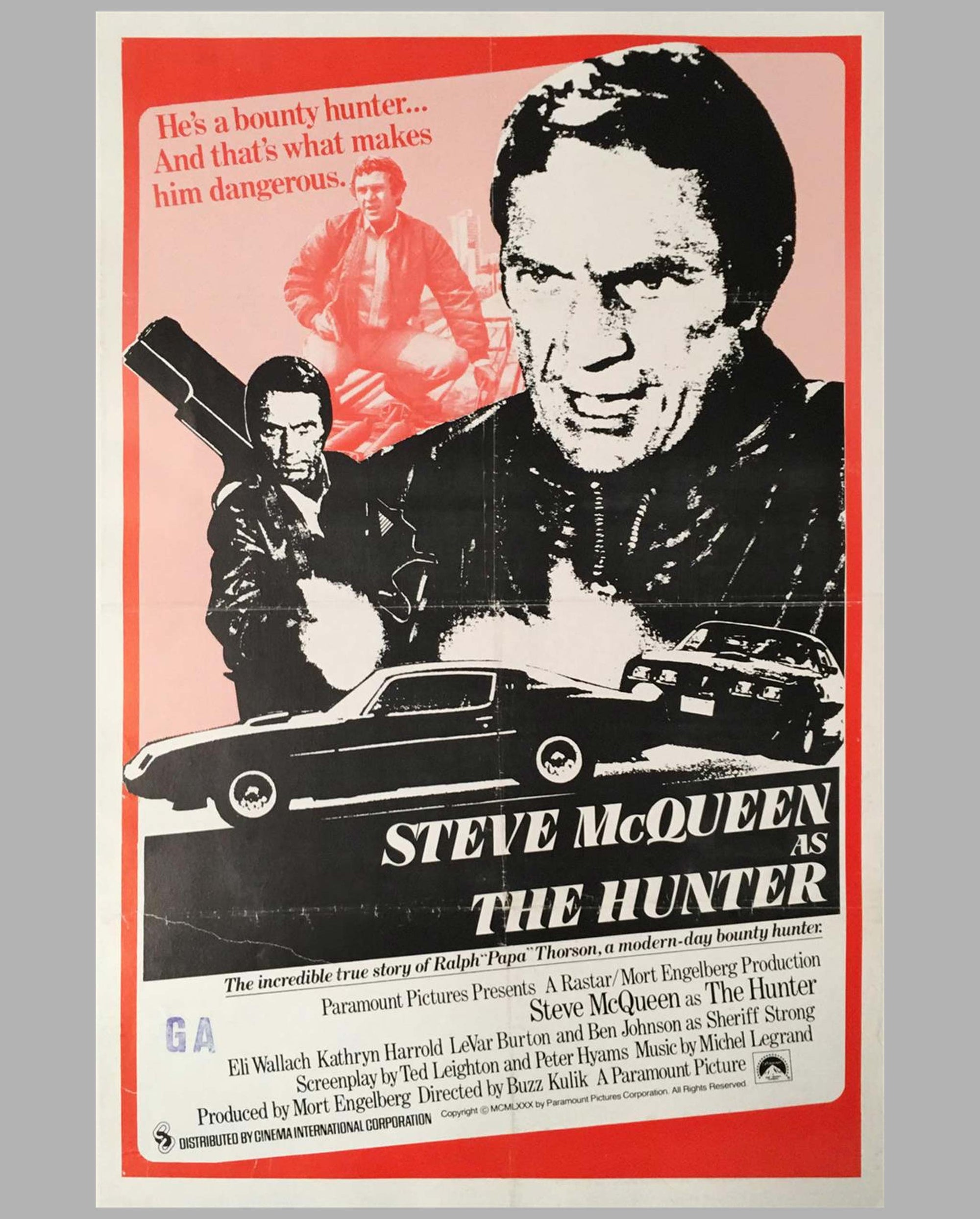 1980 The Hunter with Steve McQueen movie poster