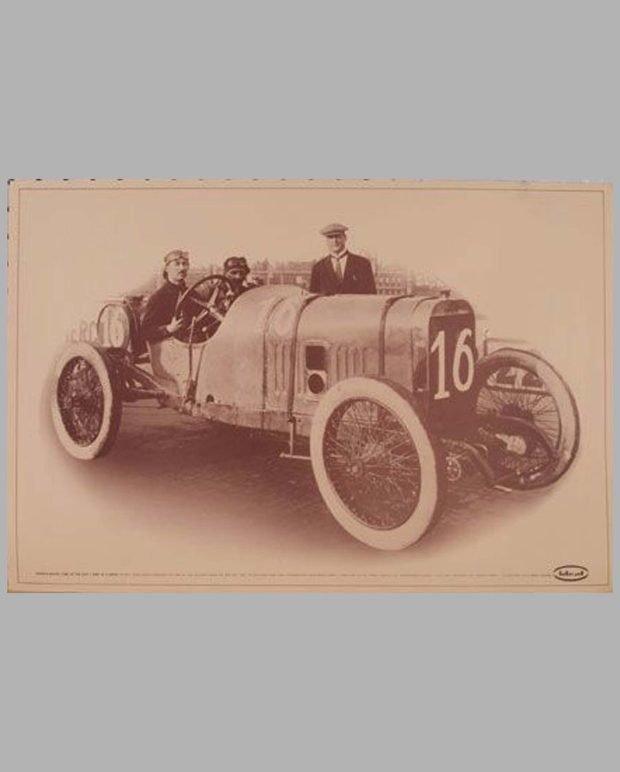 1913 Indianapolis 500 Winning Peugeot sepia-tone offset advertising print