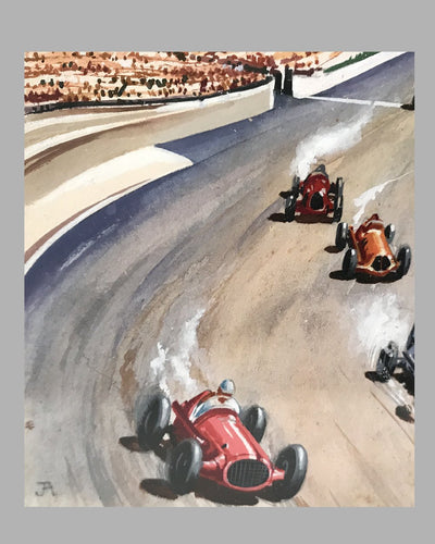 Indianapolis 500 gouache painting by J.A. 2