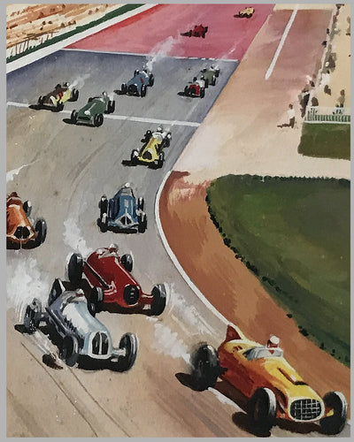 Indianapolis 500 gouache painting by J.A. 3