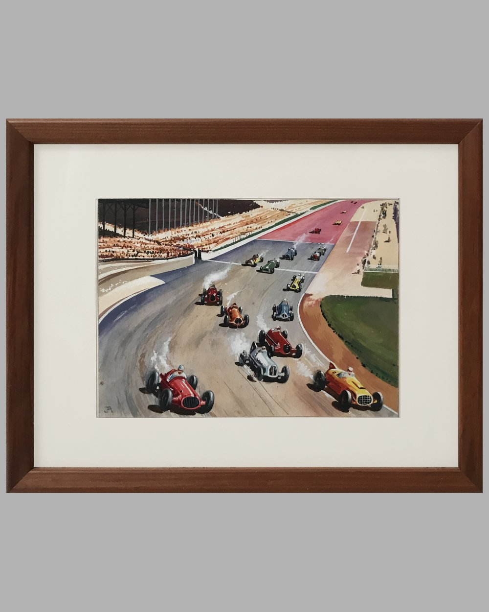 Indianapolis 500 gouache painting by J.A.