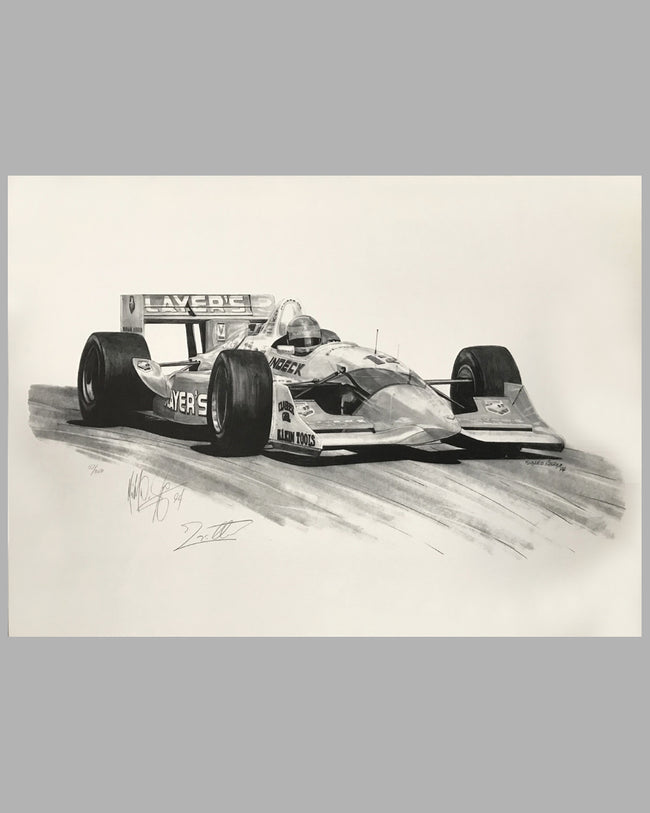 Indy Car Champion Jacques Villeneuve (autographed) b&w print by Michael Savage