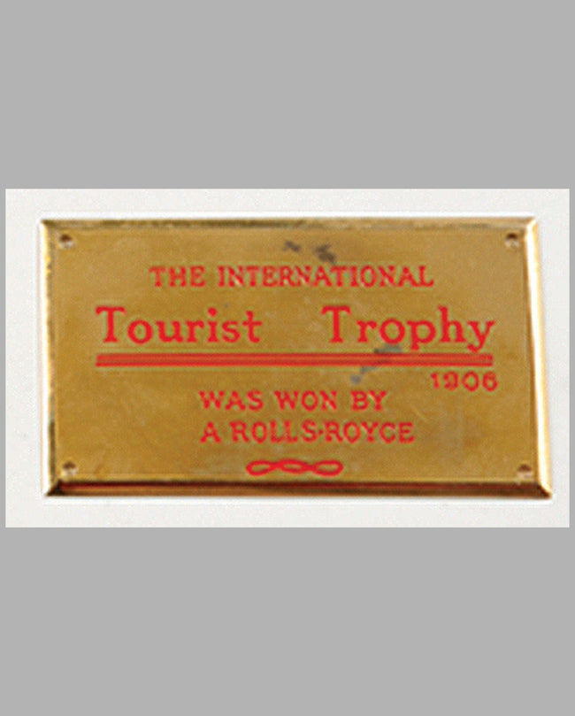 International Tourist Trophy Rolls-Royce 1905 commemorative plaque
