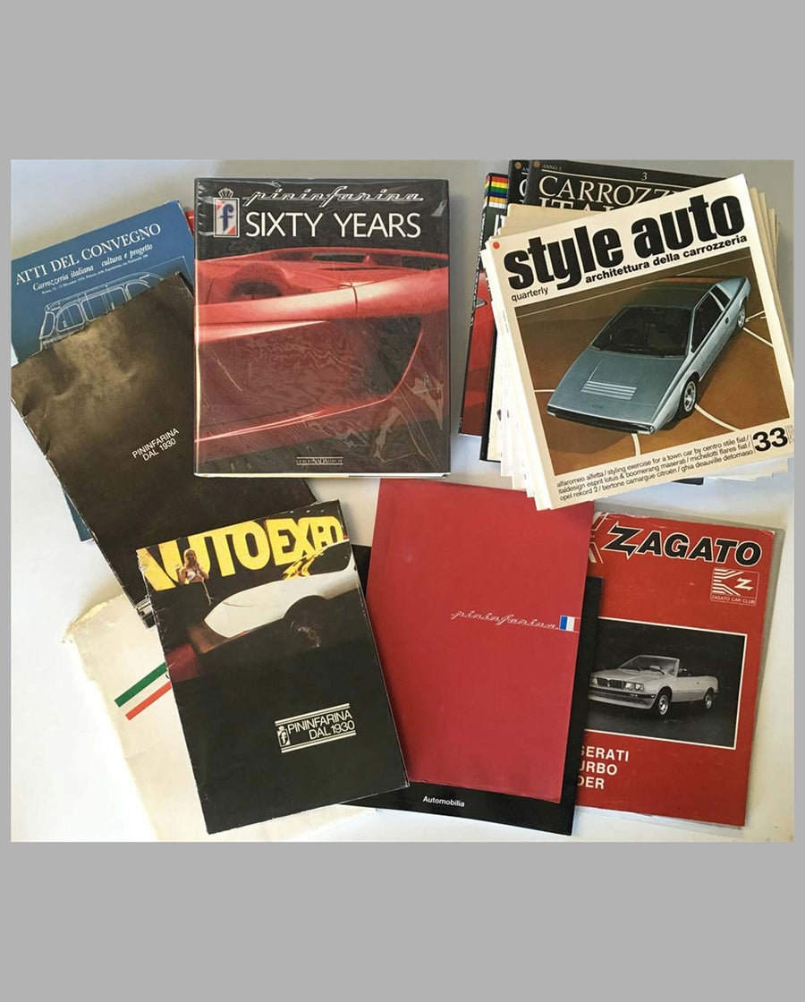 Twenty Italian design books, magazines & press release covering Pininfarina, Bertone, Zagato and others…