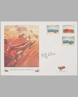 Italian Race Car print on envelope by Geo Ham, autographed by Cliff Allison