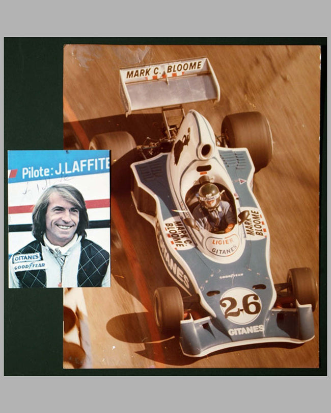 Two J. Laffite autographed photos, photo cards by M. Tee, car and portrait