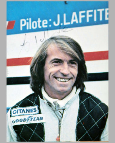 Two J. Laffite autographed photos, photo cards by M. Tee, signed portrait