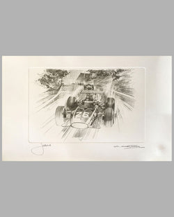Jacky Ickx's first Grand Prix win at Rouen by Michael Turner, Autographed by the Driver