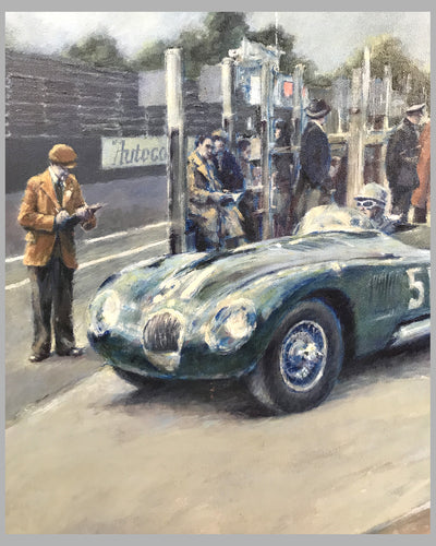Jaguar C-Type, in the Isle of Man, oil on canvas painting, by Peter Hearsey, UK, 1989 2