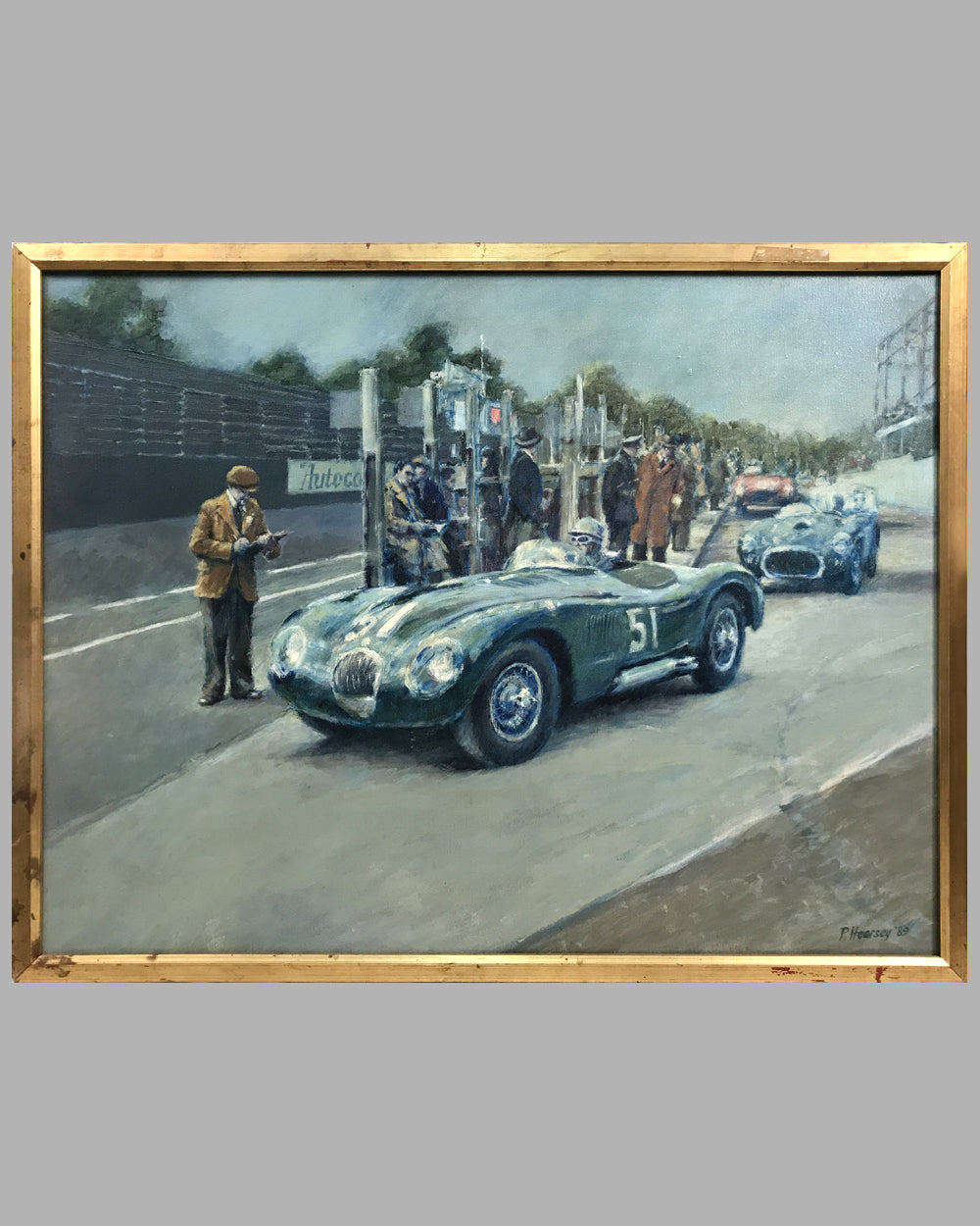 Jaguar C-Type, in the Isle of Man, oil on canvas painting, by Peter Hearsey, UK, 1989