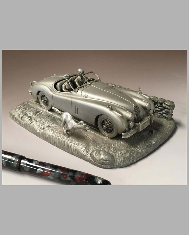 A Tribute to the Jaguar XK 140 Pewter Sculpture by Raymond Meyers