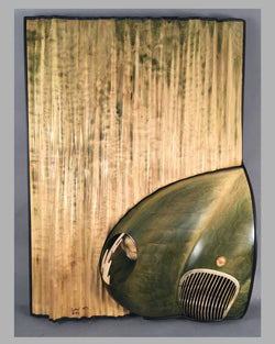 Jaguar C Type nose, hanging sculpture by Dennis Hoyt