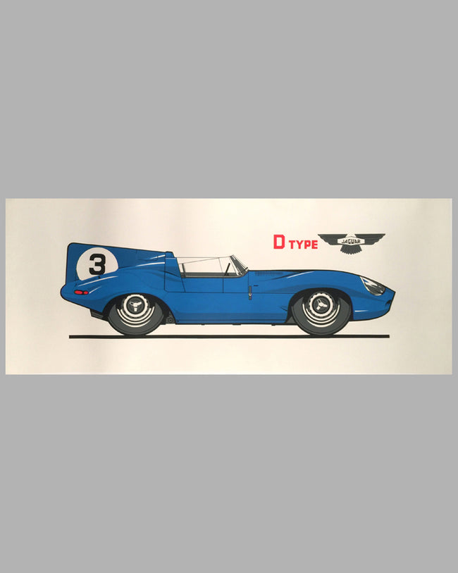 Large Jaguar D Type print on paper in Ecurie Ecosse color