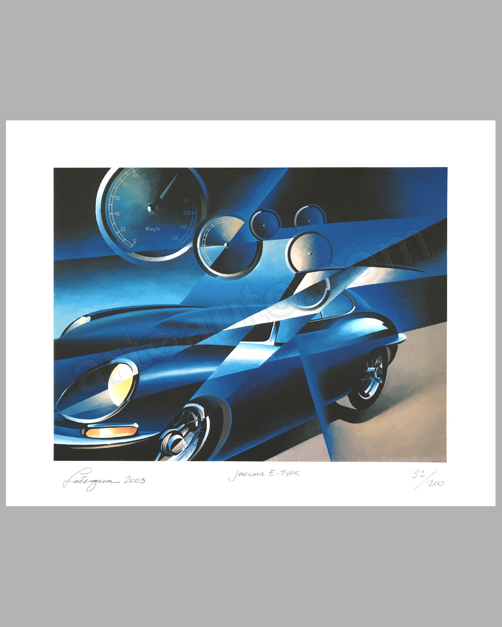 Jaguar E Type giclée by Alain Lévesque