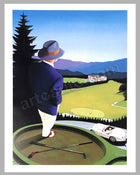 Jaguar XK 120 at the golf course poster by Razzia (project for a golf course in Japan)