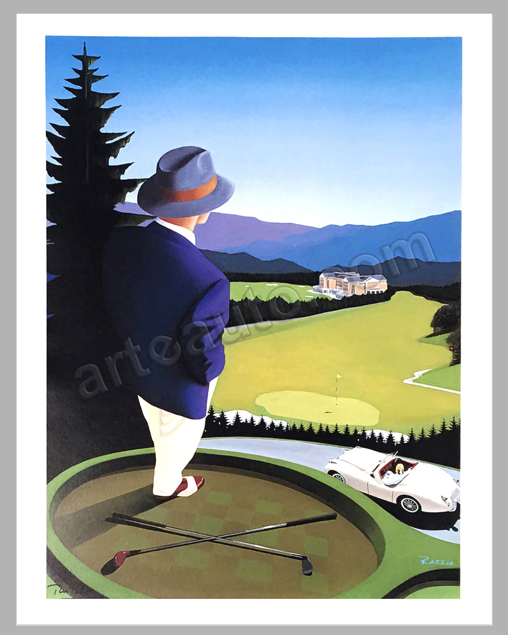 Jaguar XK 120 at the golf course poster by Razzia (project for a golf course in Japan