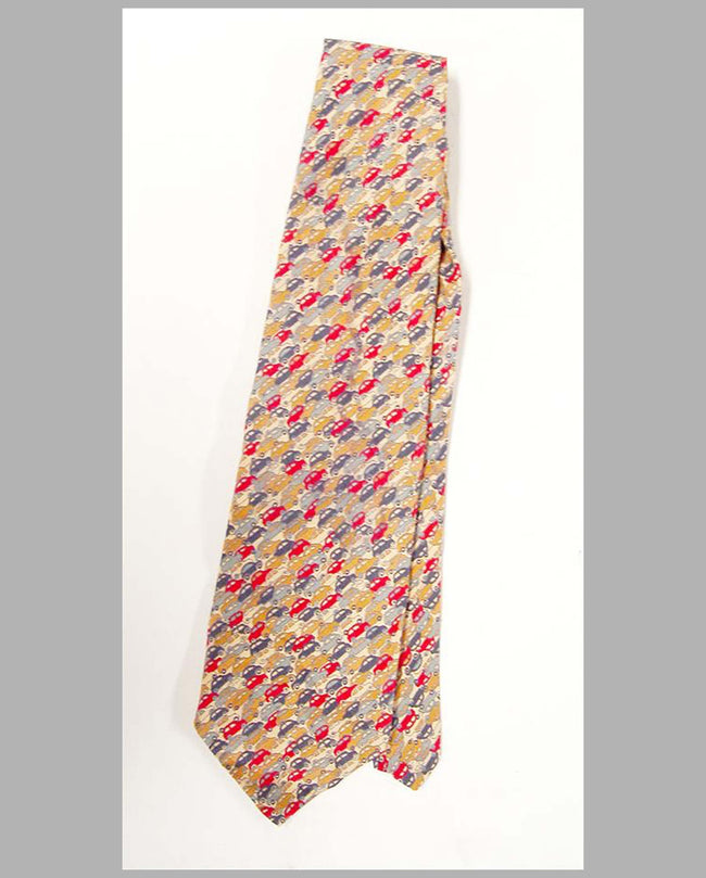 Vintage Car related necktie, Jelly-Bean Cars, printed in England by Liberty