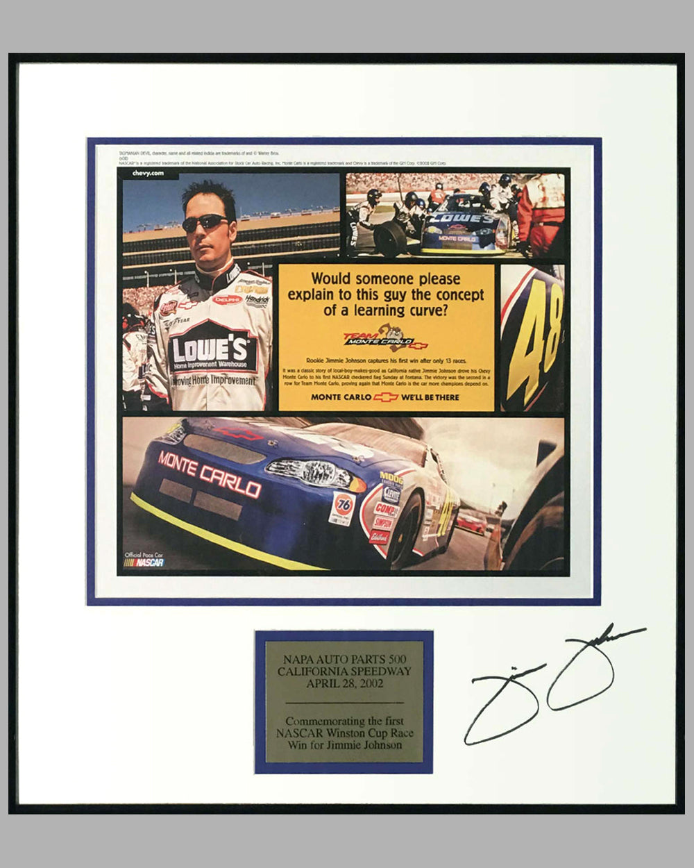 Chevrolet ad copy for Jimmie Johnson first NASCAR win, Autographed by Jimmie Johnson