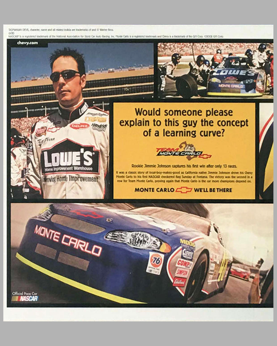 Chevrolet ad copy for Jimmie Johnson first NASCAR win, Autographed by Jimmie Johnson 3