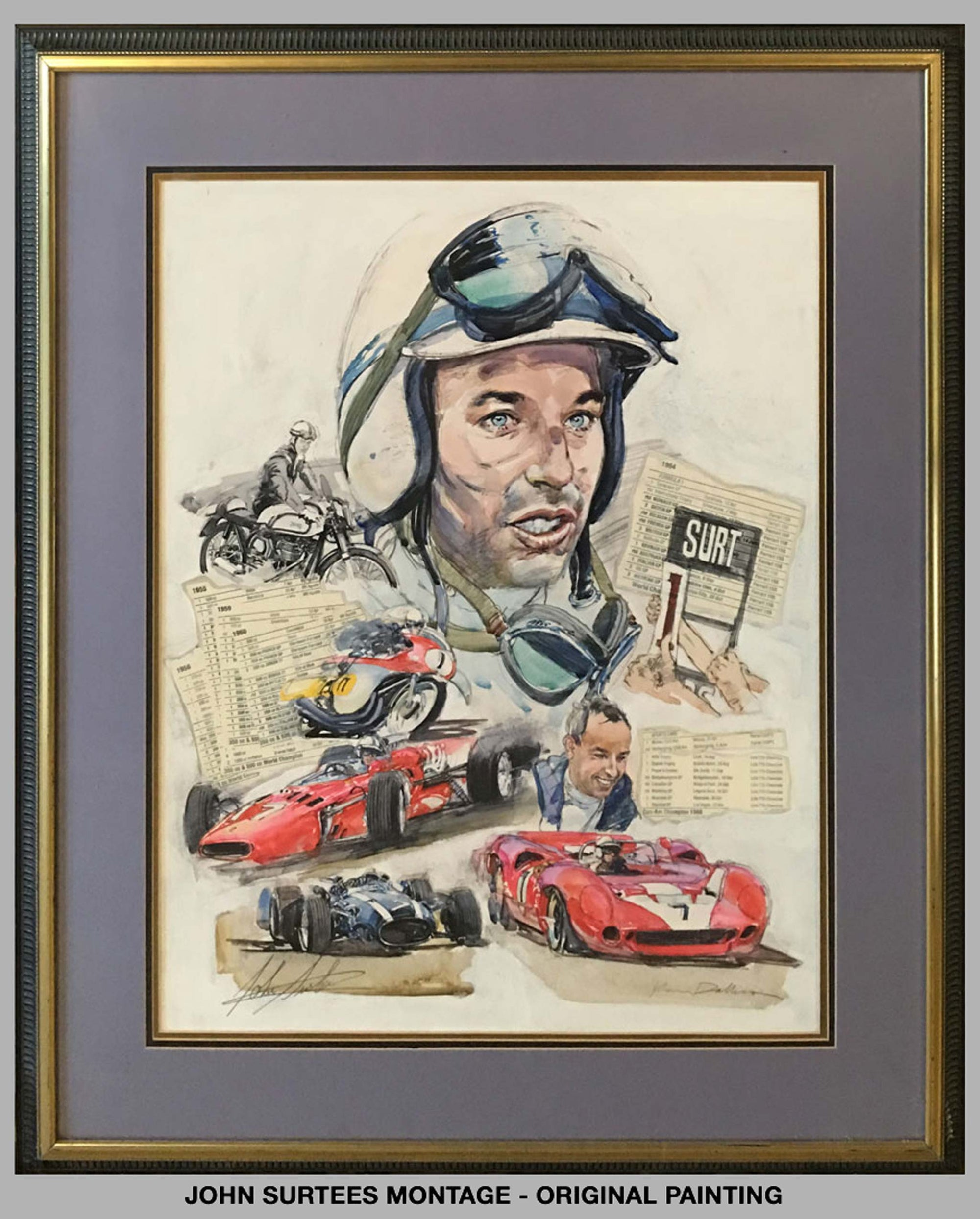 John Surtees Montage by Ken Dallison (2001) painting