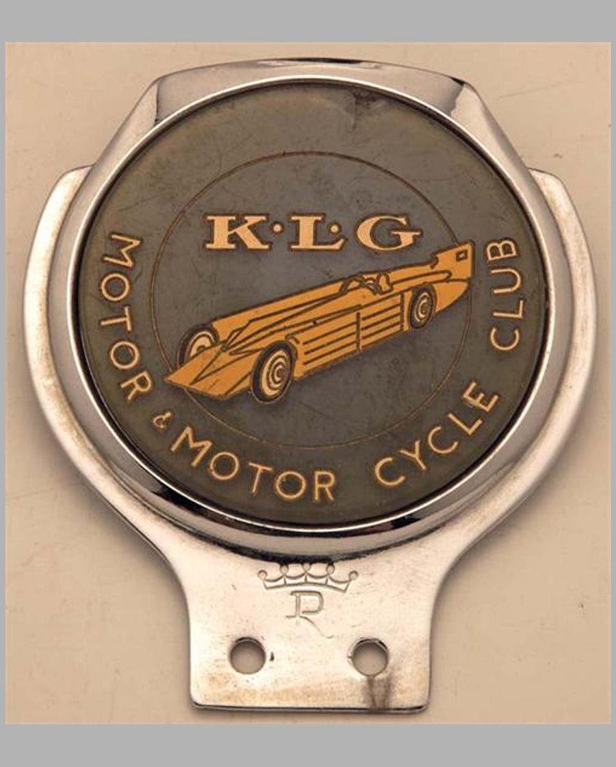 K.L.G. Motor & Motorcycle club bar badge, U.K.