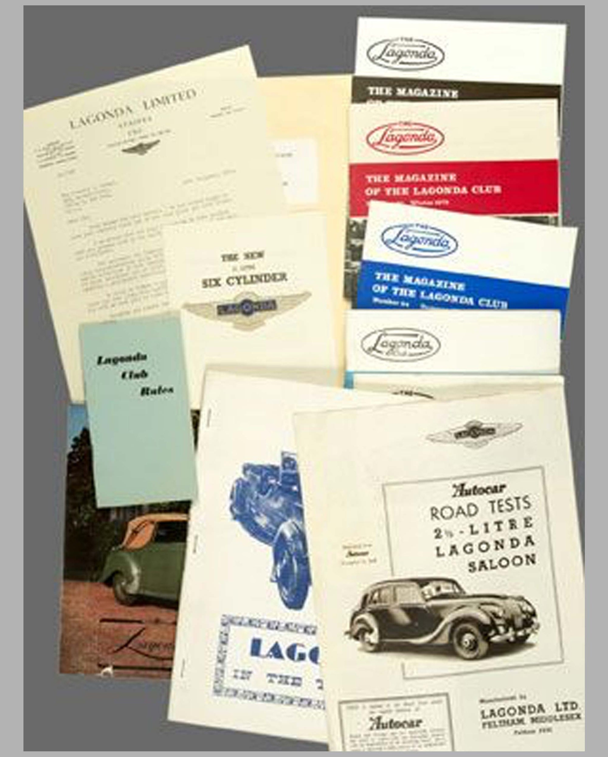 Lagonda factory sales and club literature collection