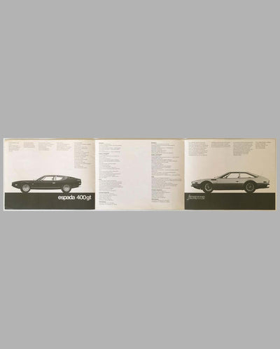 Lamborghini Espada & Jarama 400 GT factory sales brochure, early 1970's interior
