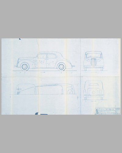 "Lancia Berlina ""Bilus"" Aprilia blueprint from the Pinin Farina studio, late 1945"