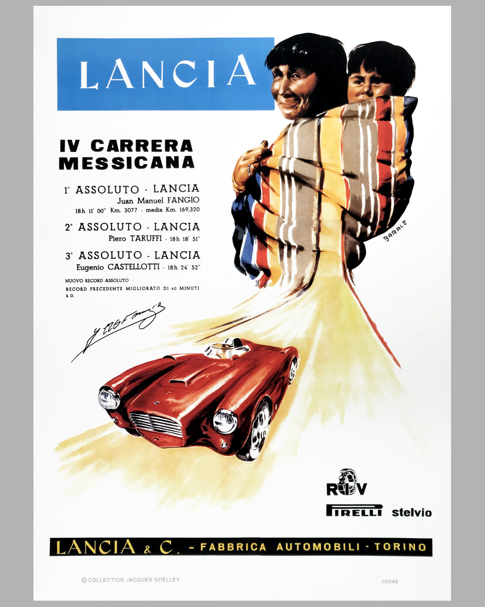 1954 Lancia victory poster by Barale, autographed by Juan Manuel Fangio