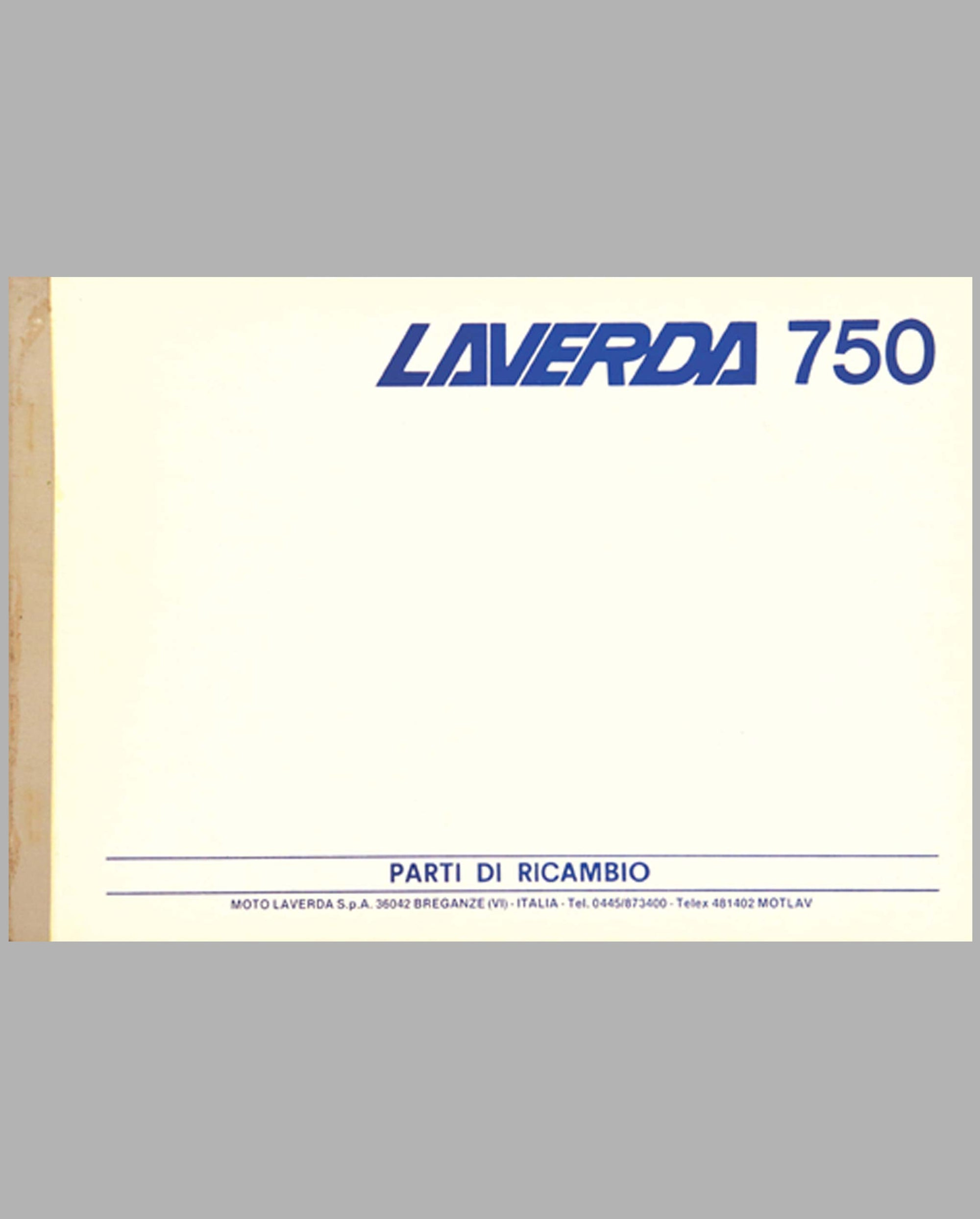 Laverda 750 original factory parts manual, late 1960's
