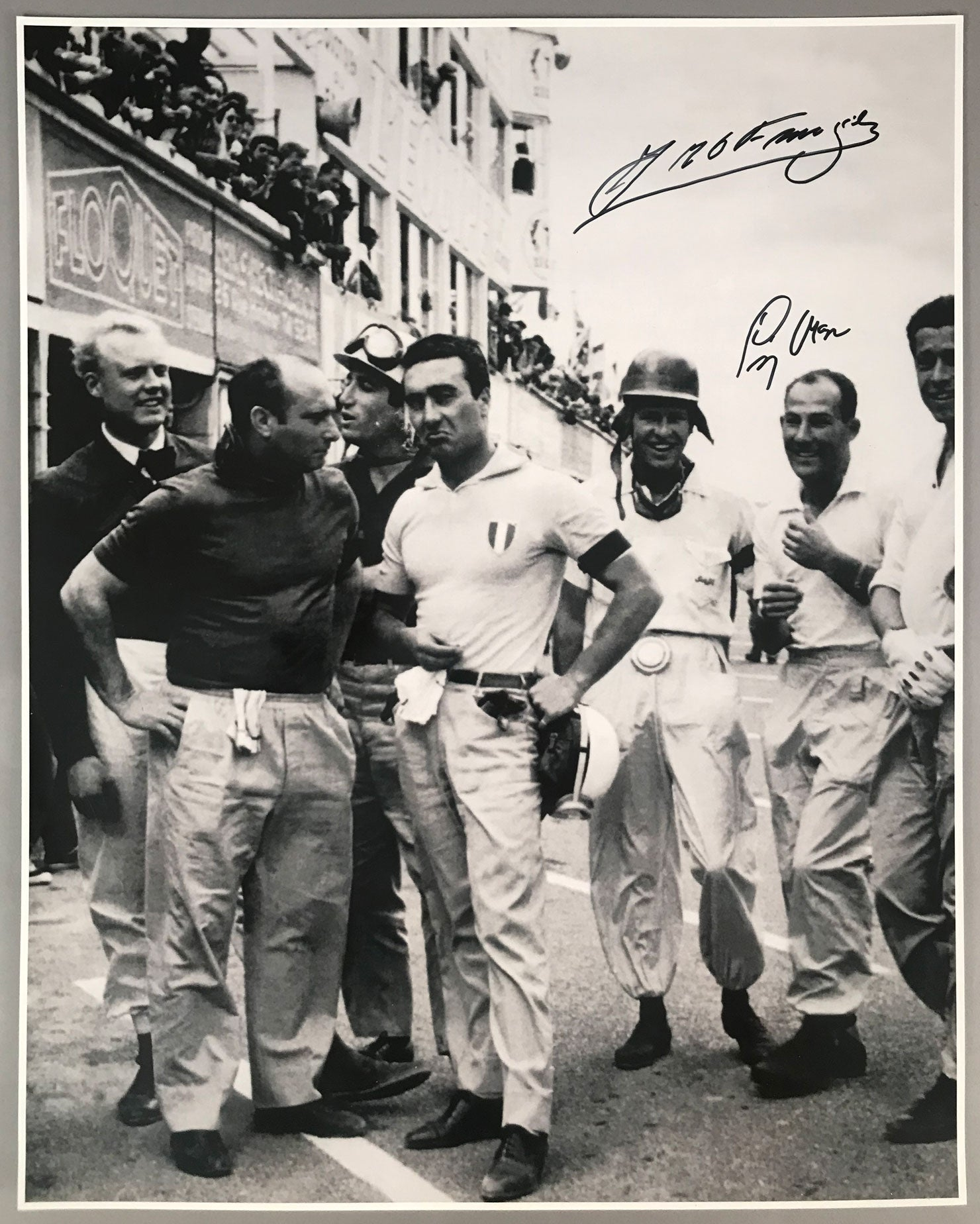 24 Hours of Le Mans 1955 B&W photograph, autographed by Fangio and Moss - $495.00