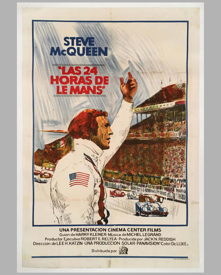 Steve McQueen Le Mans original Spanish movie poster
