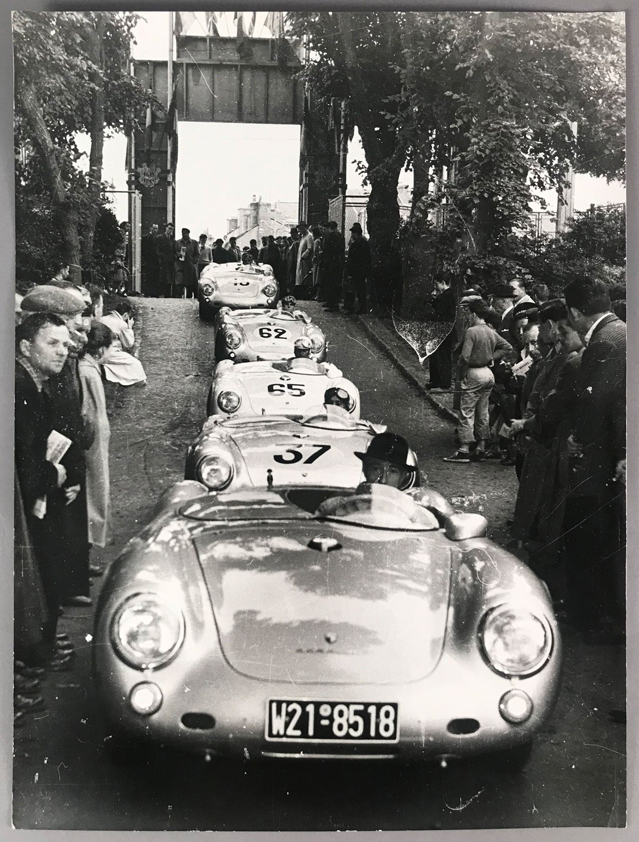 Porsche 550 Spyder parade arrives at Le Mans in 1955 photo - $225.00