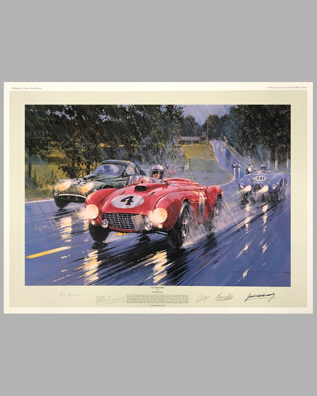 Le Mans 1954 print by Nicholas Watts, autographed by 5 drivers