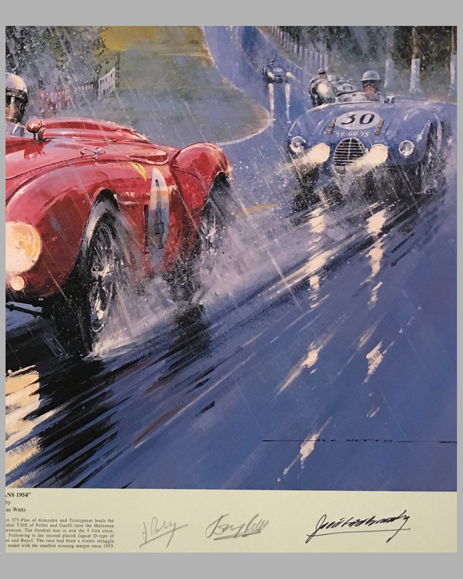 Le Mans 1954 print by Nicholas Watts, autographed by 5 drivers 2