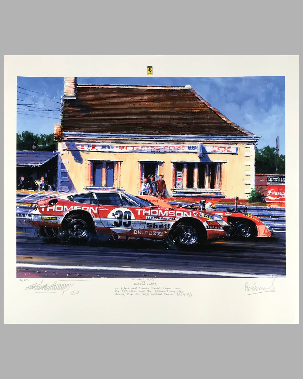 Le Mans 1973 Giclee by Nicholas Watts, autographed