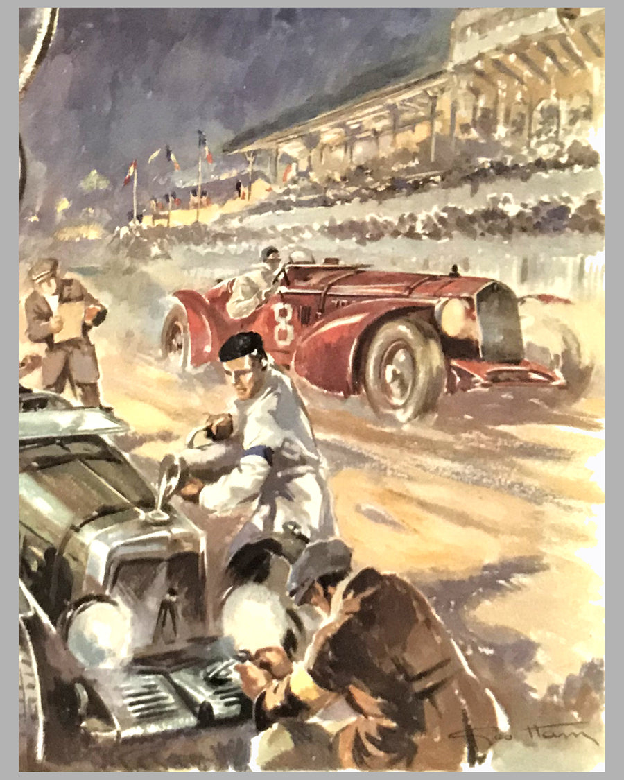 1932 Le Mans 24 Hour, 1980's print by Geo Ham, France 2
