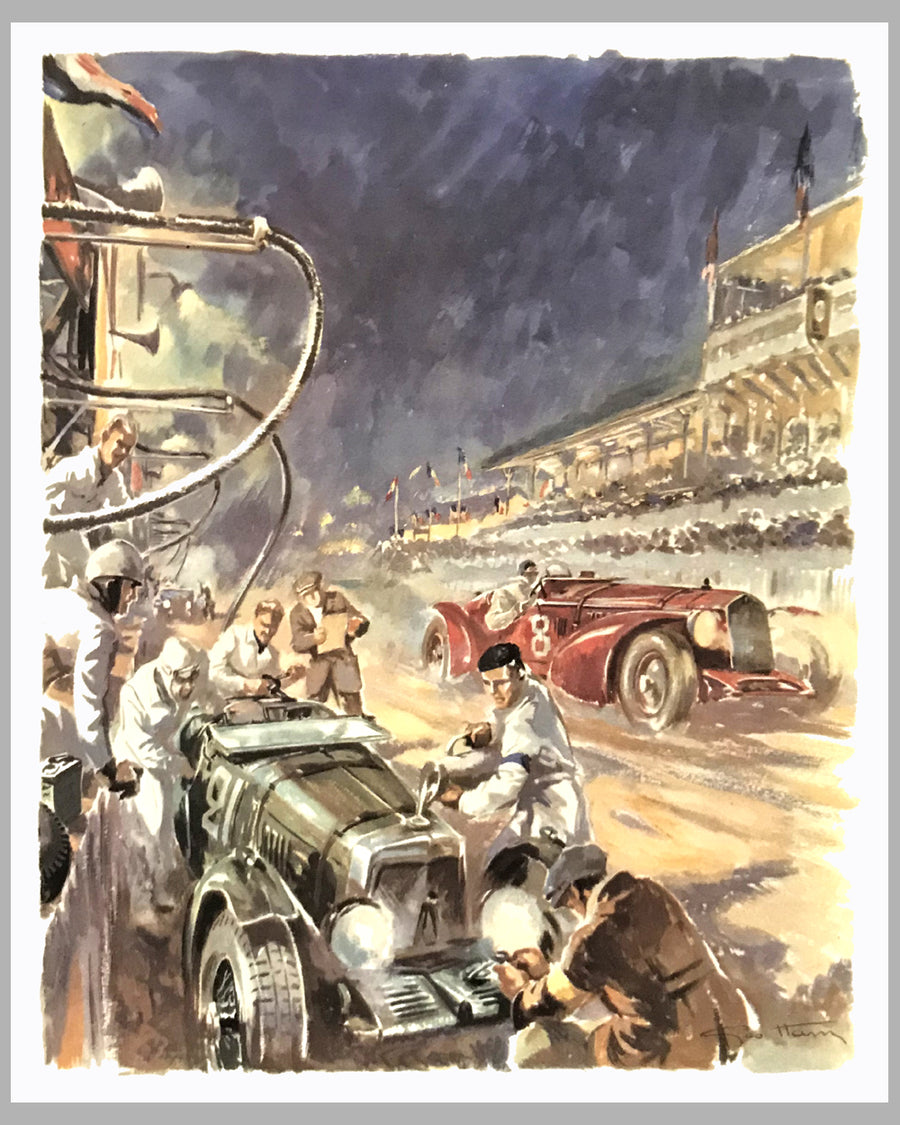 1932 Le Mans 24 Hour, 1980's print by Geo Ham, France