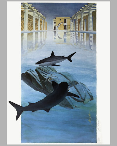 Les Requins (The Sharks) lithograph by Alain Mirgalet