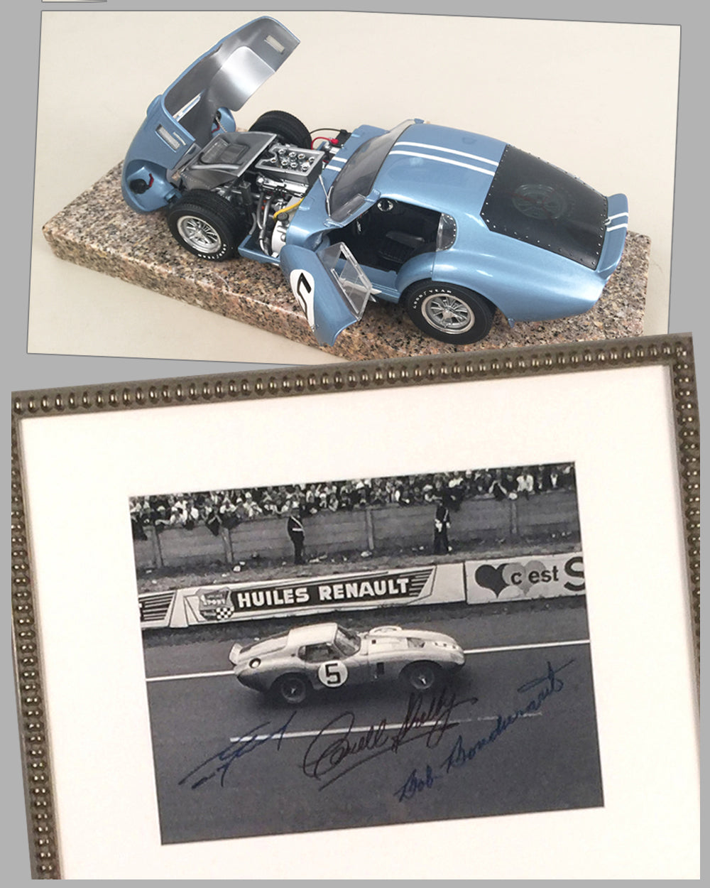 1964 - 24 Hrs of Le Mans autographed photo & Shelby Cobra Daytona model - Lot of 2