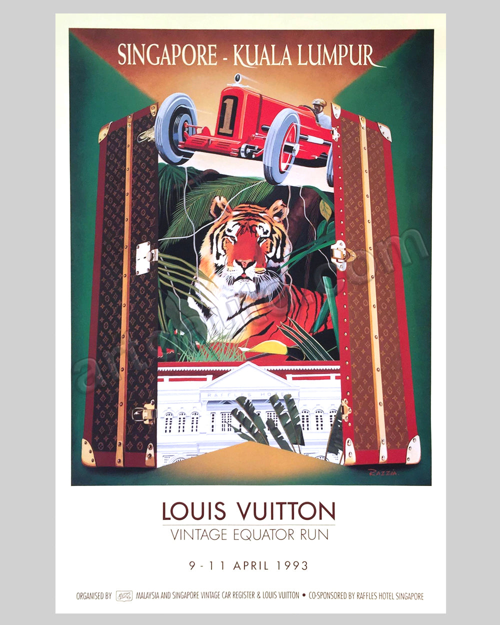 Louis Vuitton Vintage Equator Run 1993 original event poster by Razzia