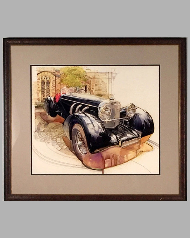 1930 Mercedes Benz SSK painting by Dennis Brown, USA