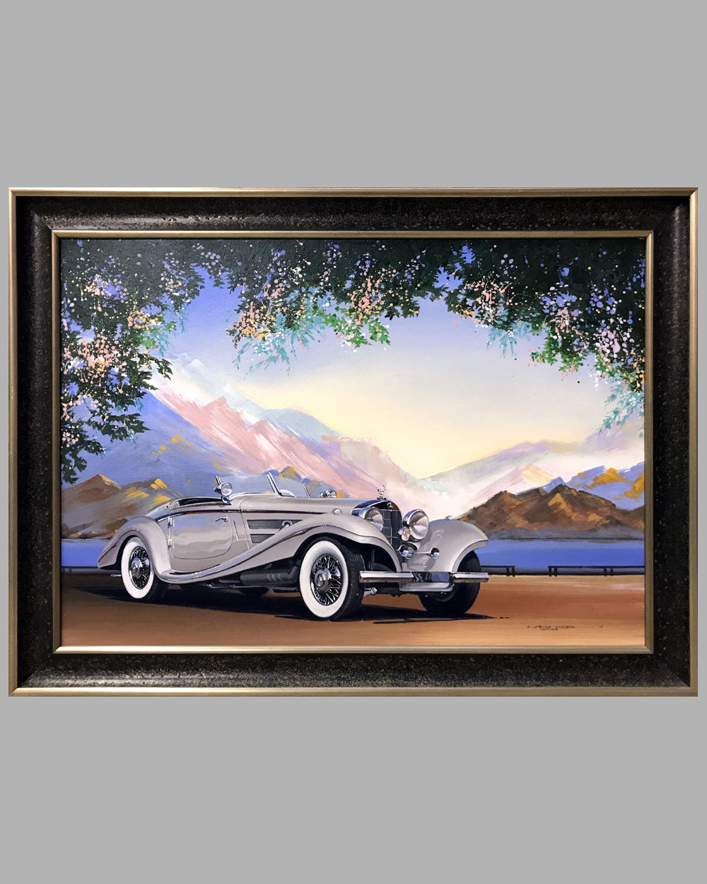 Mercedes Benz 500K acrylic on canvas painting by Charles Maher