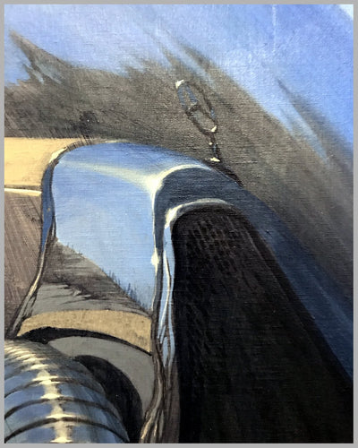 Pre-war Mercedes at the Ski Slope, large Acrylic on Canvas painting by Bill Motta 4