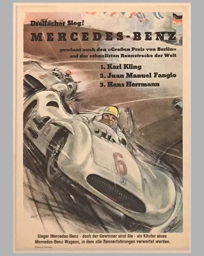 Four Mercedes Benz victory posters by Hans Liska 1954 - 1955 2