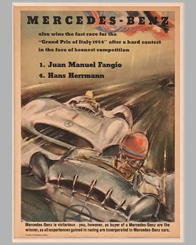 Four Mercedes Benz victory posters by Hans Liska 1954 - 1955 3