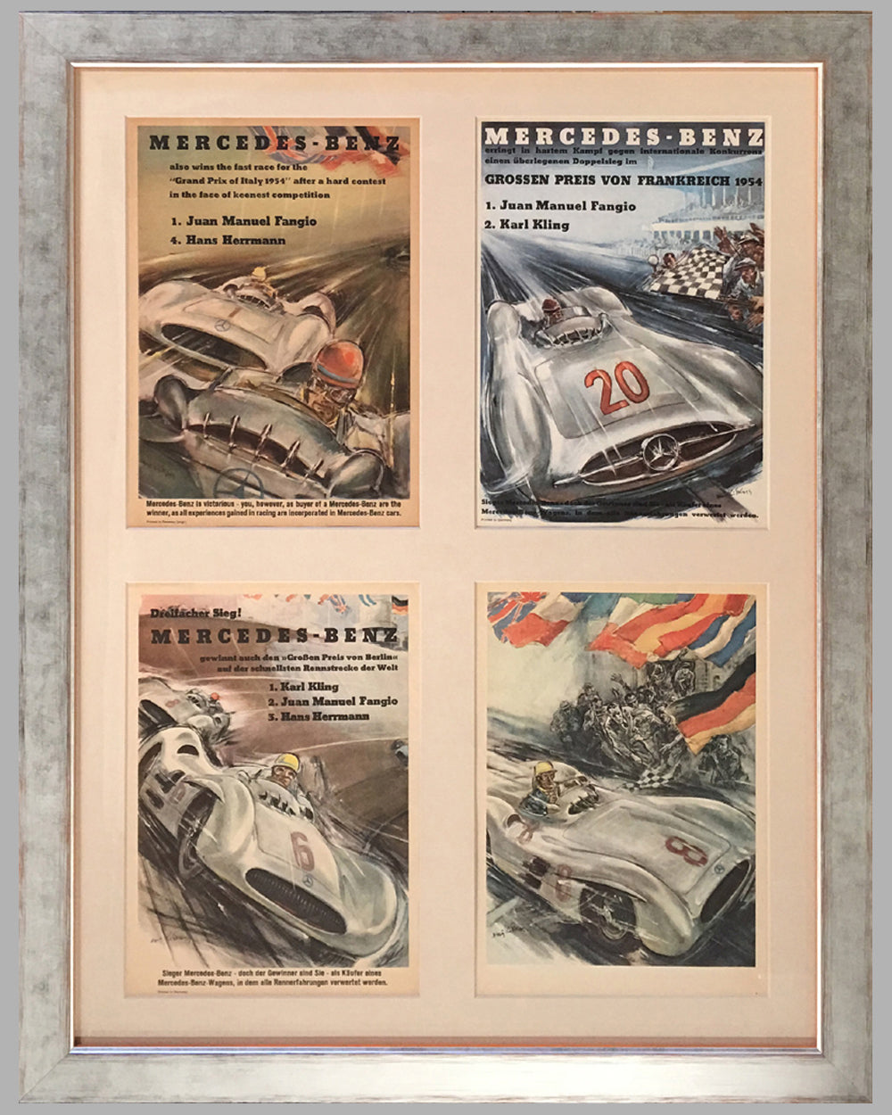 1954-1955 Mercedes Benz victory posters by Hans Liska, lot of 4