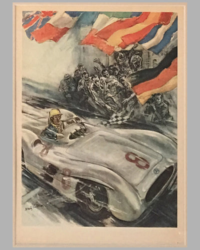 Four Mercedes Benz victory posters by Hans Liska 1954 - 1955 5