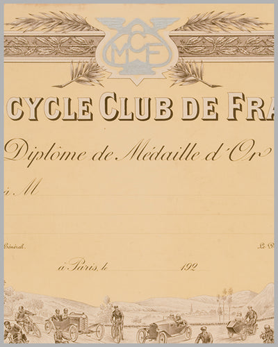 Motocycle Club de France Diplome original by Langlois 3